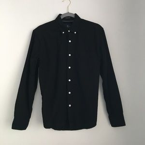 American Eagle Black Button Down Shirt Long Sleeve